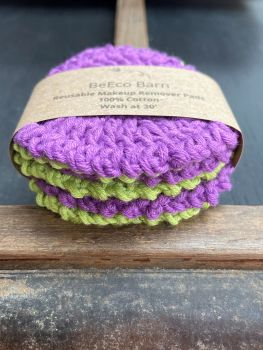 6 Reusable Makeup Remover Pads - Purple and Green