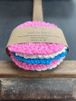 6 Reusable Makeup Remover Pads - Pink, White and Blue