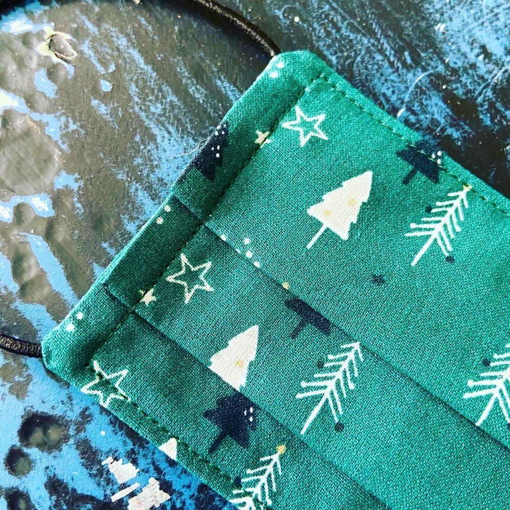 Reusable Face Mask - Green Christmas Trees