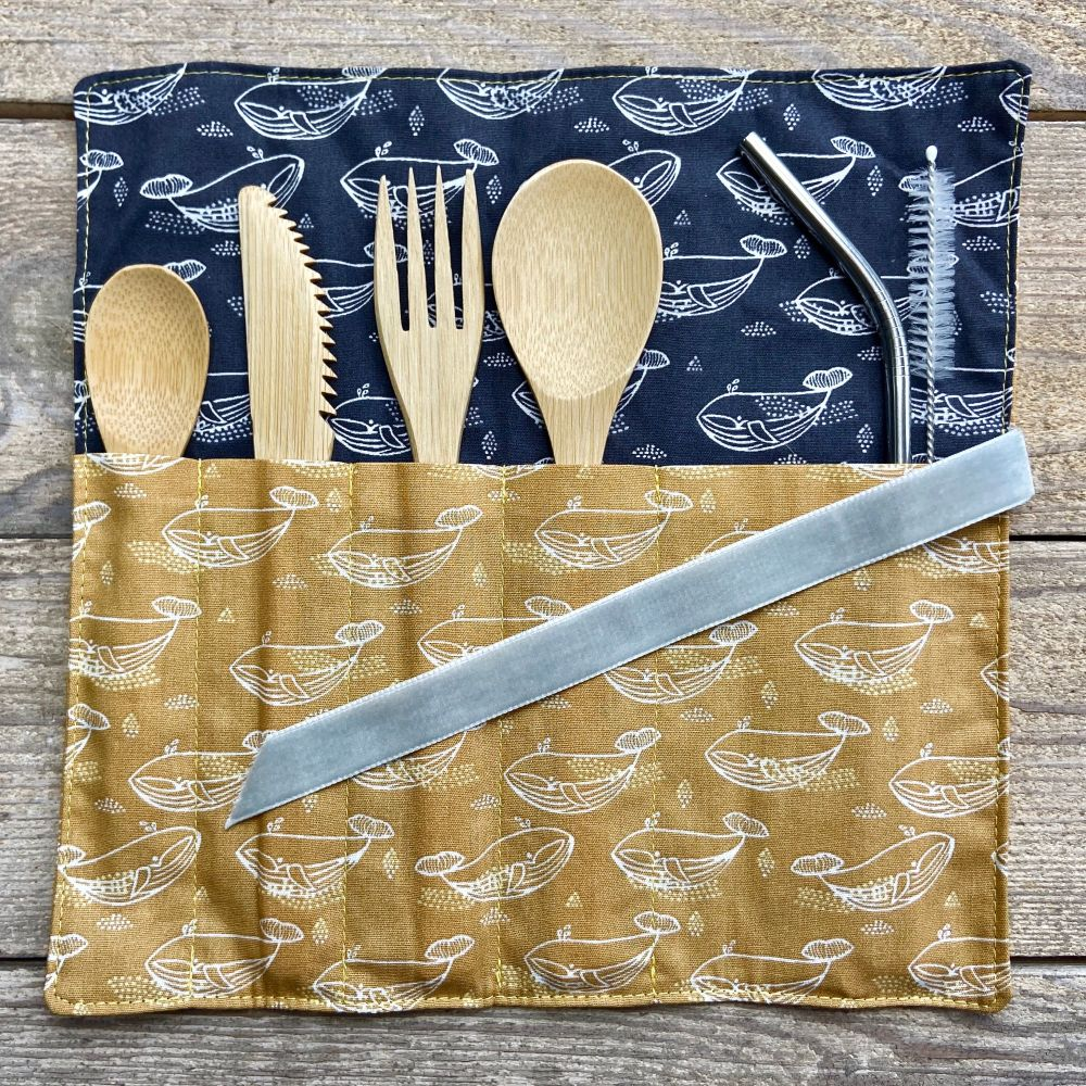 Bamboo cutlery wraps - Coral Reef