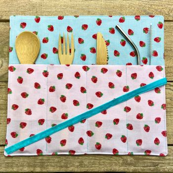 Bamboo cutlery wraps - Strawberries