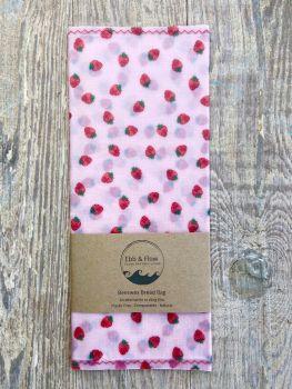 Bread Bag - Strawberries - Pink