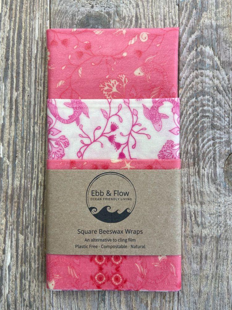 3 Square Wraps - Koi - pink/white/pink