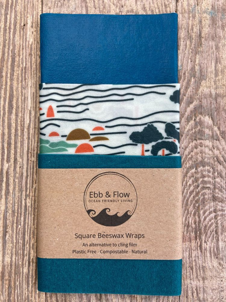 3 Square Wraps - Organic - Trees/blues