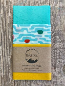 3 Square Wraps - Organic - Clouds/yellow/turquoise