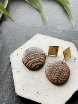 Gold Tone Wooden Disc Earrings