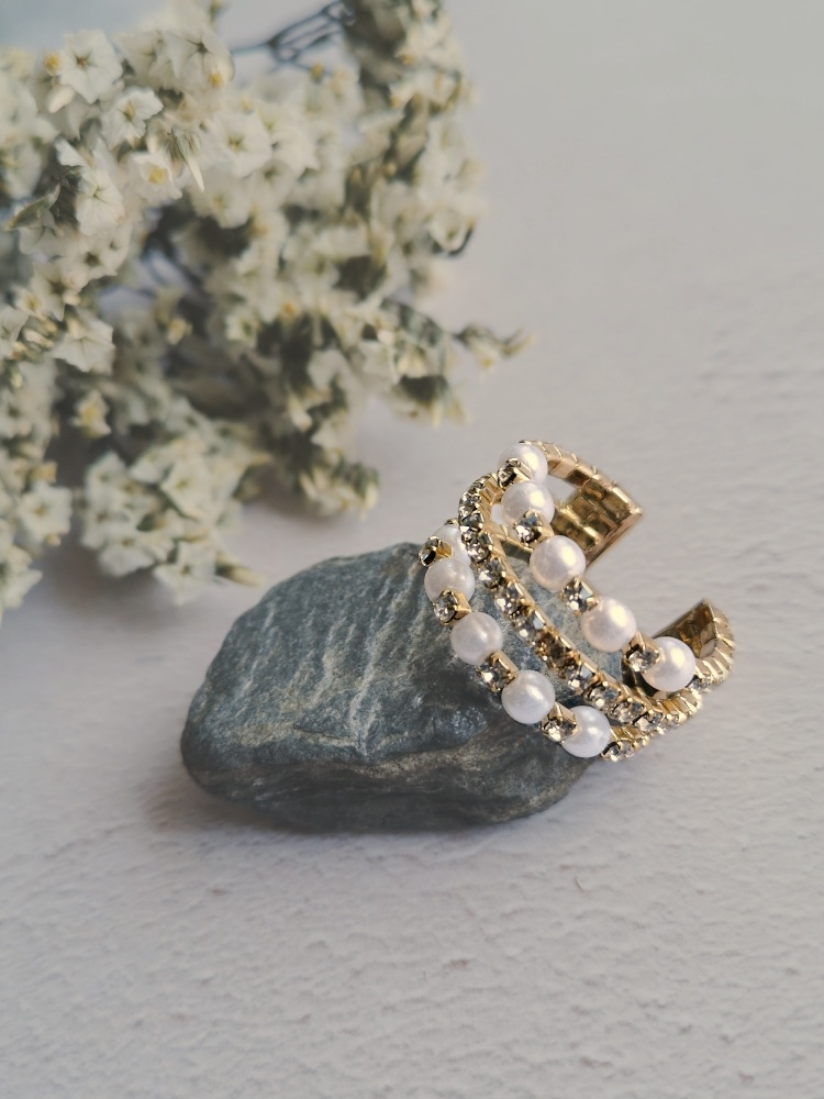 Mother of Pearl and Rhinestone Adjustable Gold Plated Ring