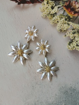 Mother of Pearl Flower Dropper Earrings by Emi Jewellery