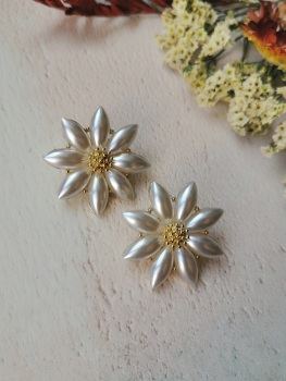 Mother of Pearl Flower Stud Earrings by Emi Jewellery