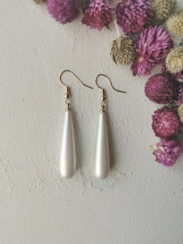 Mother of Pearl Single Drop Earrings by Emi Jewellery