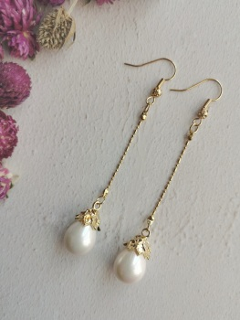 Mother of Pearl Elegant Statement Dropper Earrings by Emi Jewellery