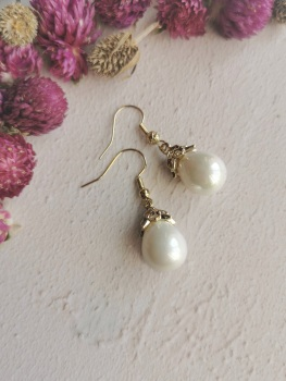 Mother of Pearl Elegant Mini Dropper Earrings by Emi Jewellery