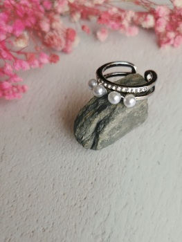 Silver Tone Mother of Pearl Adjustable Ring by Emi Jewellery