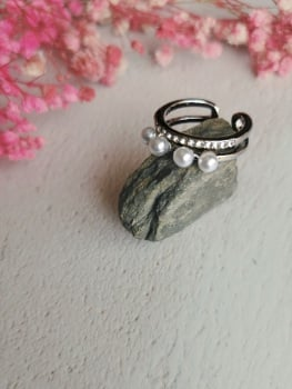 Silver Tone Mother of Pearl Adjustable Ring