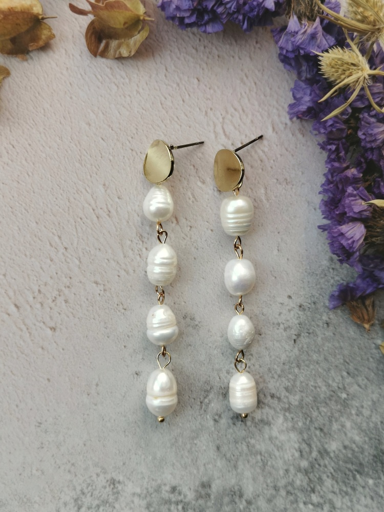 Gold Tone Disc and Mother of Pearl Stone Dropper Earrings
