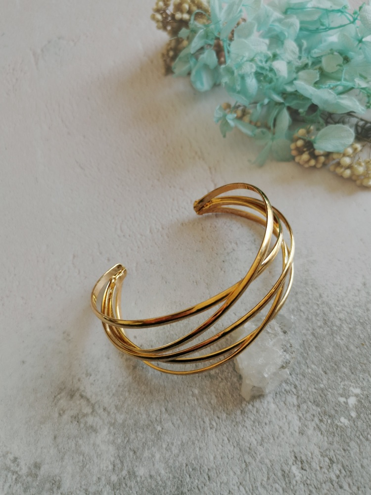 Gold Tone Statement Wire Cuff Bracelet