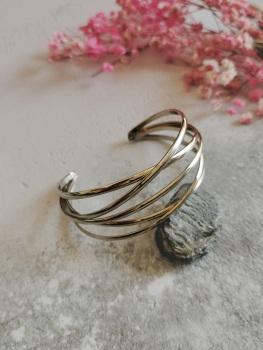 Silver Tone Statement Wire Cuff Bracelet by Emi Jewellery