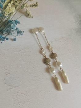 Multi Drop Dangle Mother of Pearl Earrings by Emi Jewellery
