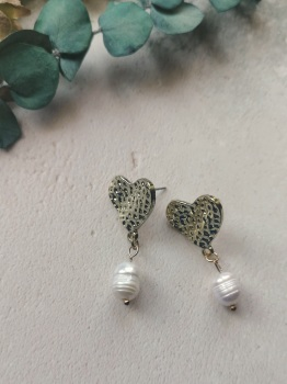 Gold Tone Heart and Mother of Pearl Stone Drop Earrings by Emi Jewellery