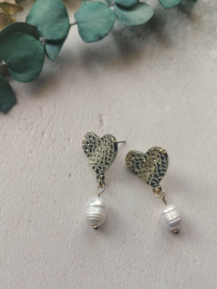 Gold Tone Heart and Mother of Pearl Stone Drop Earrings