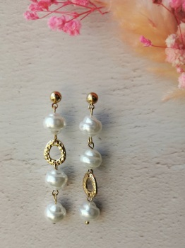 Mother of Pearl Inspired 3 Droplet Earrings by Emi Jewellery