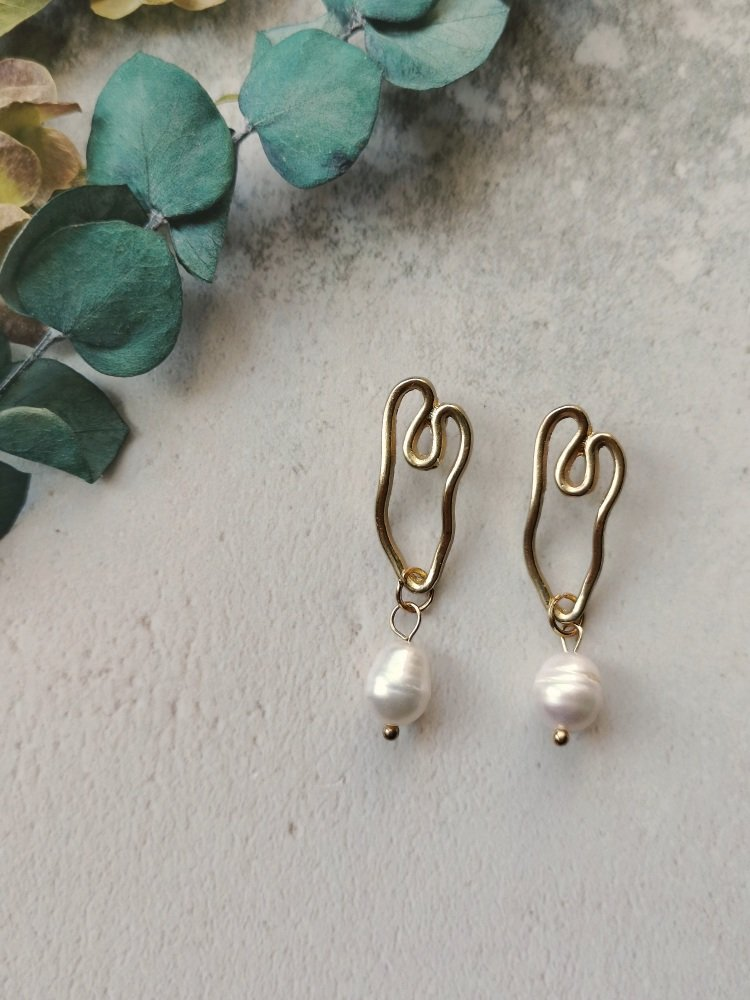 Gold Tone Modern Shape Mother of Pearl Stone Earrings