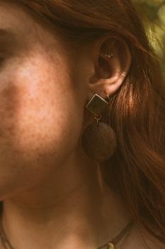 Gold Tone Wooden Disc Earrings