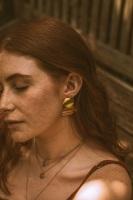 Gold Tone Minimal Circle Earrings