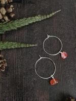 Sterling Silver Hoop & Agate Semi Precious Stone Earrings