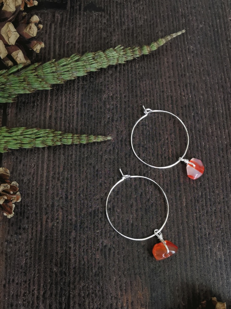Sterling Silver Hoop & Semi Precious Stone Earrings