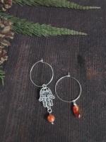 Sterling Silver Hoop & Hamsa Hand Agate Semi Precious Stone Earrings