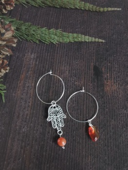 Sterling Silver Hoop & Hamsa Hand Agate Semi Precious Stone Earrings