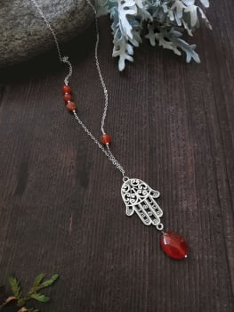 Long Length Sterling Silver Hamsa Hand Agate Semi Precious Stone Necklace