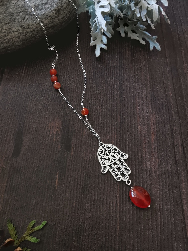 Long Length Sterling Silver Hamsa Necklace