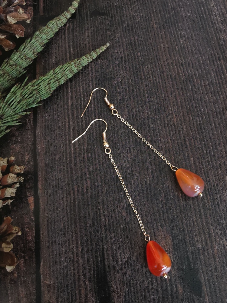 Gold Tone Agate Single Drop Semi Precious Stone Earrings