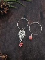 Sterling Silver Hoop & Hamsa Hand Rhodochrosite Semi Precious Stone Earrings