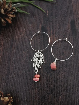 Sterling Silver Hoop & Hamsa Hand Rhodochrosite Semi Precious Stone Earrings