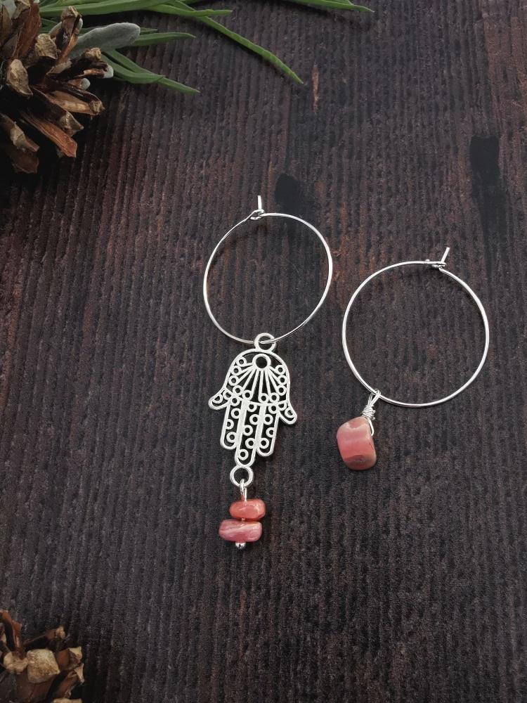 Sterling Silver Hoop & Hamsa Hand Rhodochrosite Semi Precious Stone Earring