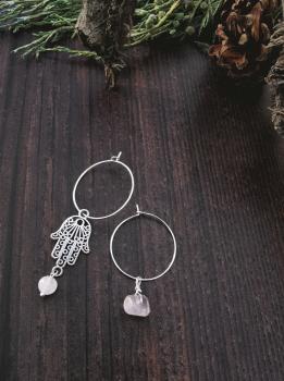 Sterling Silver Hoop & Hamsa Hand Rose Quartz Semi Precious Stone Earrings