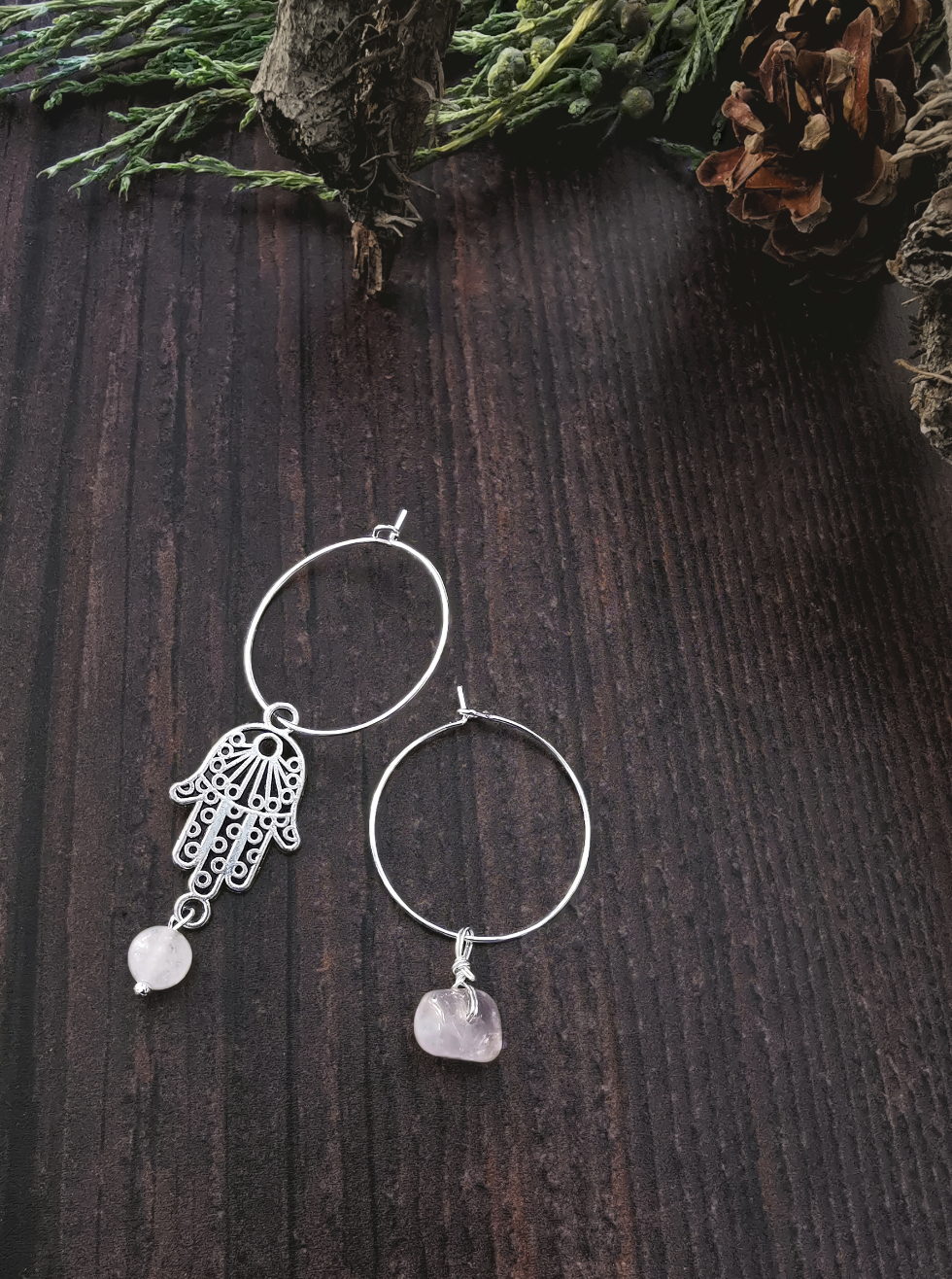 Sterling Silver Hoop & Hamsa Hand Rose Quartz Semi Precious Stone Earrings