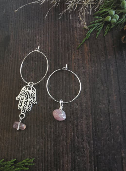 Sterling Silver Hoop & Hamsa Hand Strawberry Quartz Semi Precious Stone Earrings