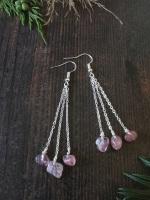 Multi Strawberry Quartz Semi Precious Stone Drop Earrings