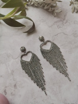 Silver Tone Heart Cubic Zirconia Earrings by Emi Jewellery