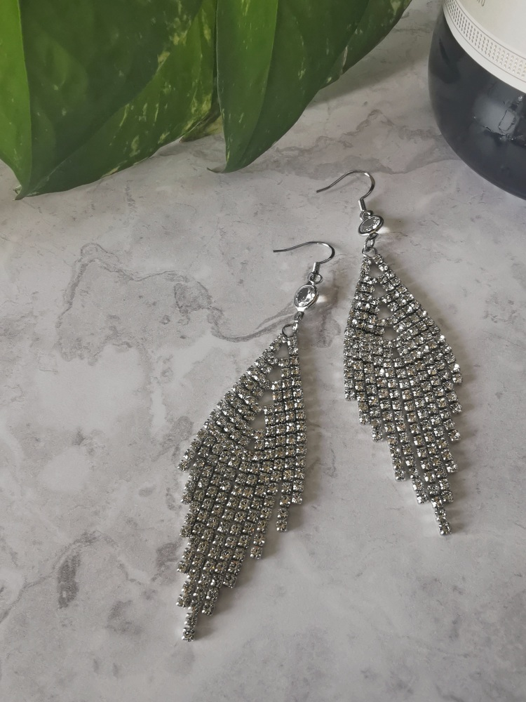 Silver Tone Architectural Cubic Zirconia Drop Earrings