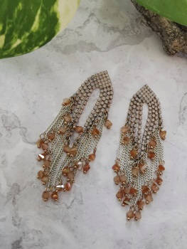 Gold Tone Multi Stone Cubic Zirconia Drop Earrings by Emi Jewellery