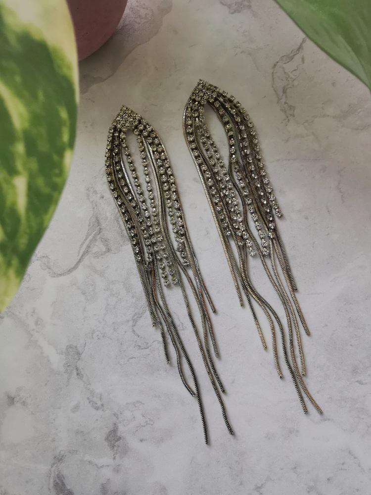 Gold Tone Cubic Zirconia Waterfall Drop Earrings