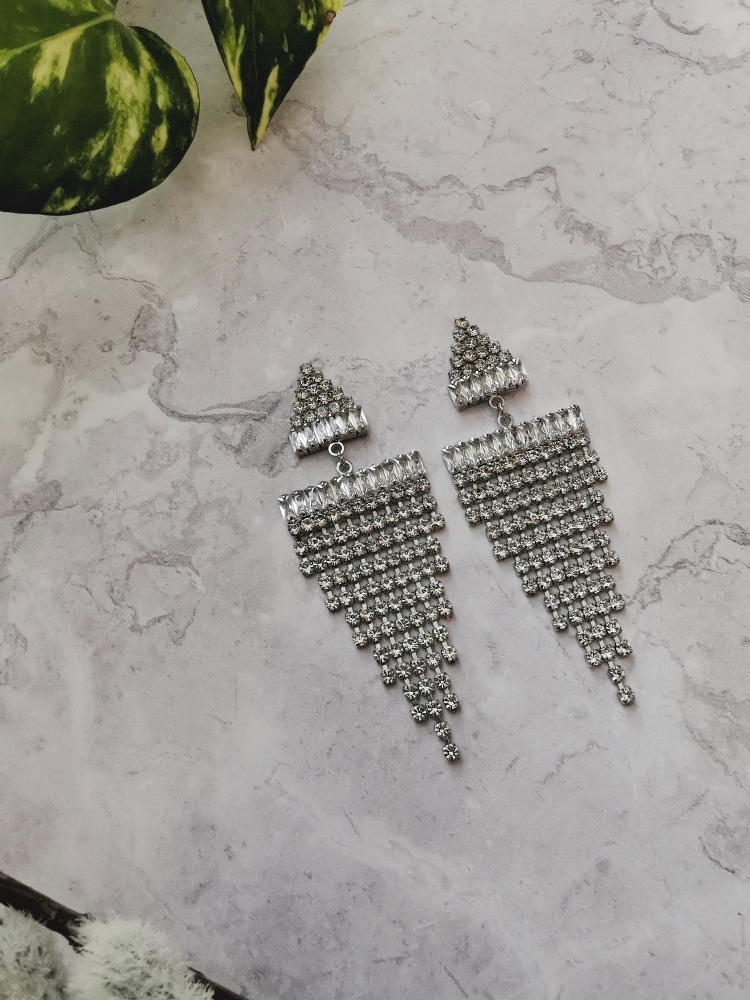 Silver Tone Cubic Zirconia Triangle Drop Earrings