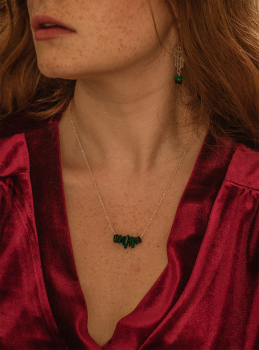Sterling Silver Malachite Semi Precious Stone Necklace