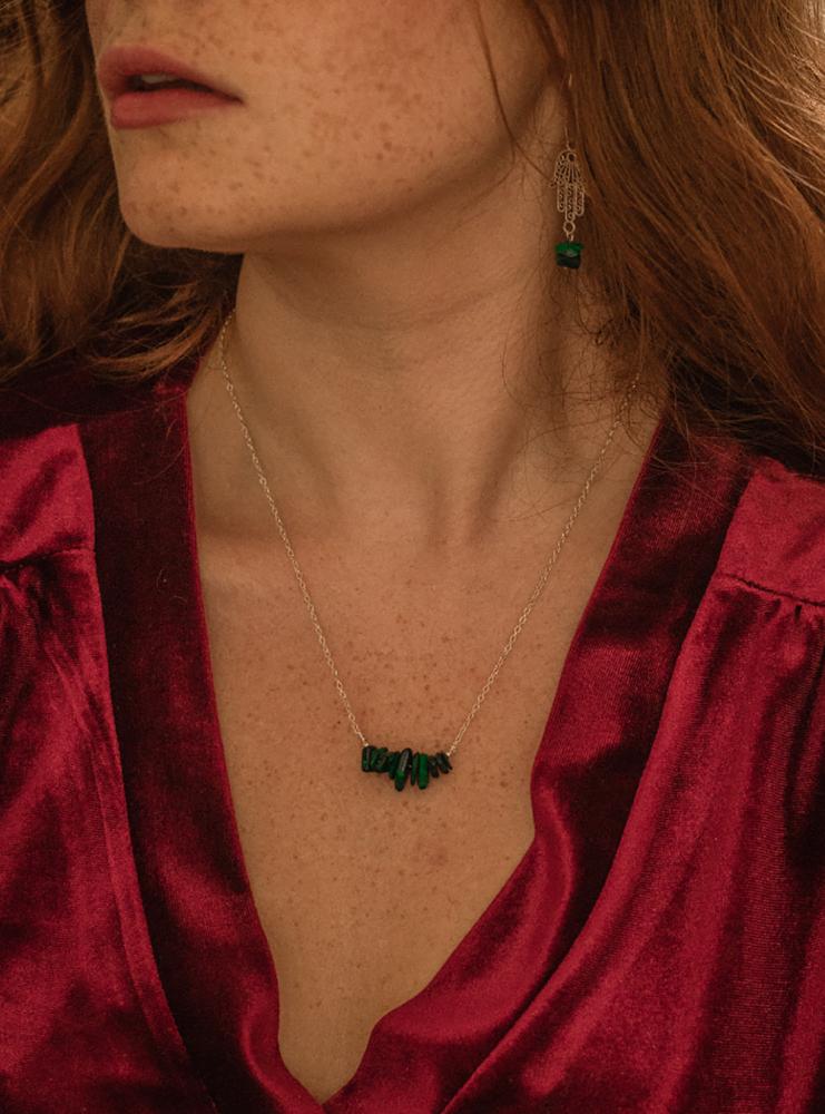 Sterling Silver Malachite Semi Precious Stone Necklace