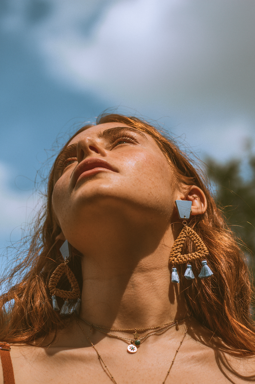 Hand made by Xander Kostroma - Rattan Earrings in Sky Blue